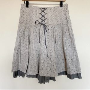Free People   Eyelet Lace Front Cottage Core Skirt